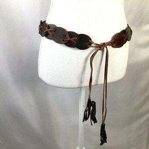 Vintage Leather Belt~Laced~Woven~Hippie~Boho~